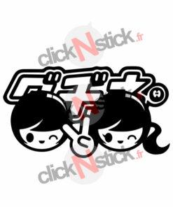 stickers boy and girl jdm manga drift japan