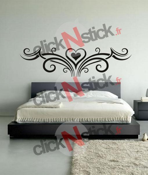 stickers décoration coeur tribal pour chambre tête de lit