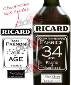 bouteille ricard personnalisée pour anniversaires, fêtes, noël