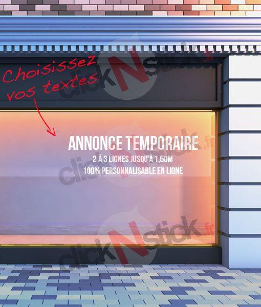 votre publicité temporaire vitrine personnalisée en ligne