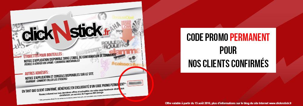 Promotion permanente sur nos stickers pour les clients confirmés