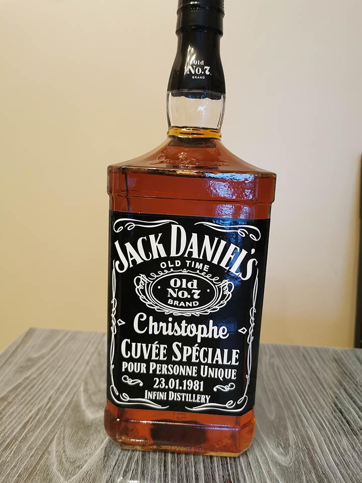 étiquette personnalisée pour bouteille de whisky Jack Daniel's