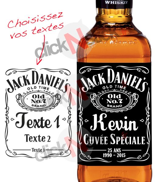 bouteille whisky jack daniels personnalisée pour anniversaires, fêtes, noël