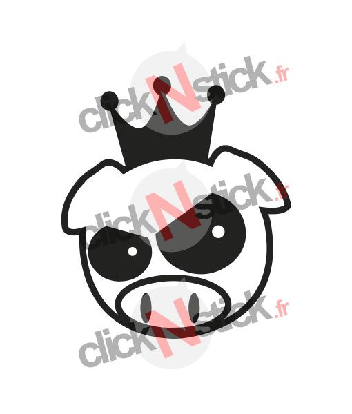sticker king pig jdm roi cochon