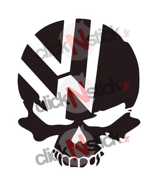 vw volkswagen skull crane stickers