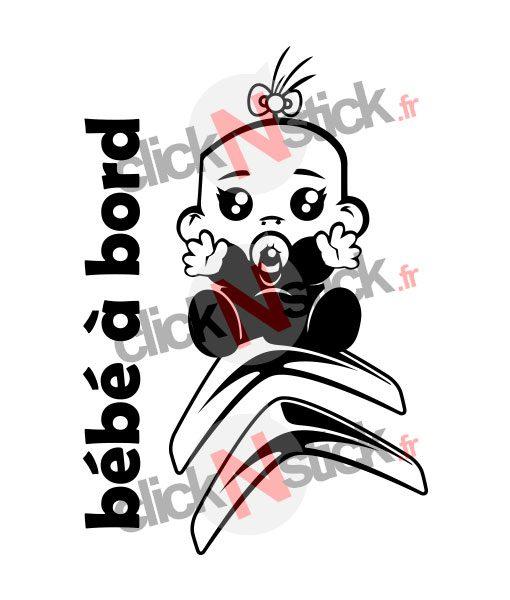bébé à bord Citroën fille stickers