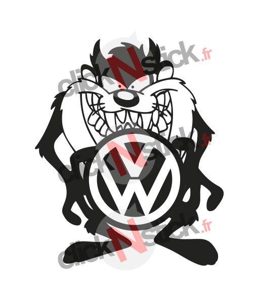 Taz cartoon Volkswagen VW sticker
