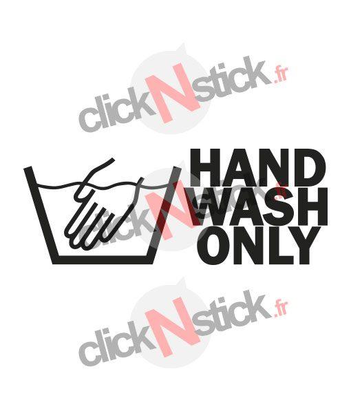 hand wash only lavage à la main sticker