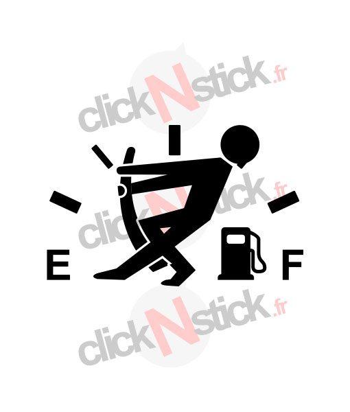 jauge essence gasoil carburant sticker humour